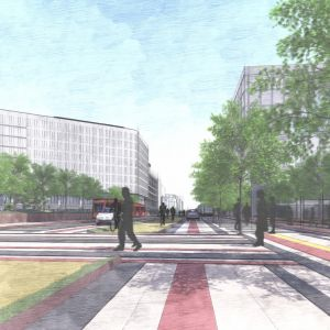 Vízia Pribinovej ulice - nového mestského bulváru. Zdroj: J&T Real Estate