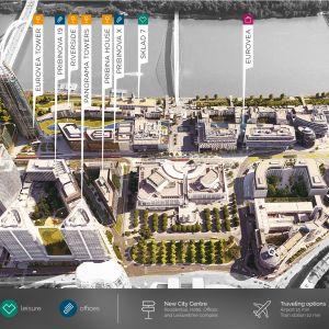 Naming jednotlivých budov v Eurovea City. Zdroj: J&T Real Estate