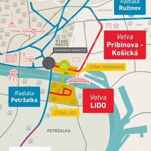 Električková trať po Košickej. Zdroj: J&T Real Estate