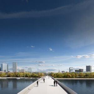 Ideový pohľad z mosta. Jeho dizajn nie je definitívny. Zdroj: J&T Real Estate