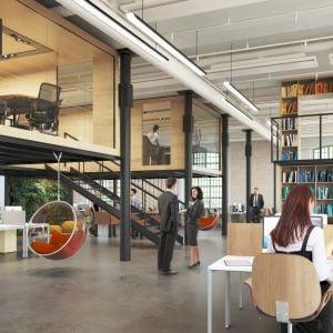 Interiér Pradiarne. Vzhľad kancelárii je ideový, klienti si priestor prispôsobia podľa seba. Zdroj: YIT Slovakia