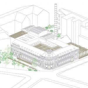 Axonometria návrhu. Zdroj: Metropolitný inštitút Bratislavy / OPPS Architettura