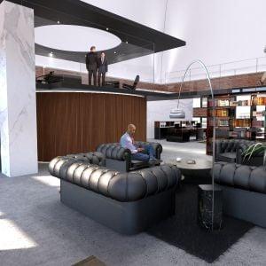 Príklad zariadenia kancelárie v kupole. Zdroj: MiddleCap Group