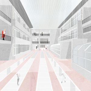 Prestrešený centrálny priestor medzi existujúcimi budovami. Zdroj: SLLA