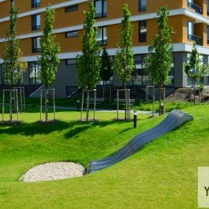 V parku sa namiesto klasického detského ihriska nachádza séria prvkov, ktoré môžu osloviť viac skupín