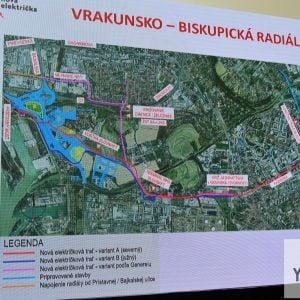 Na záver bolo preskúmané aj teoretické vedenie trate do Podunajských Biskupíc a Vrakune. Narozdiel od ÚGD, ktorý navrhoval konečnú električiek pri ŽST Podunajské Biskupice, nový návrh navrhuje konečnú pri uvažovanom TIOP Vrakuňa. Ide o rozumnejšie riešeni