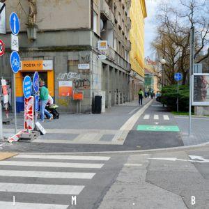 Styk cyklotrás na Blumentálskej a Májkovej. Fotené 4.4.2019