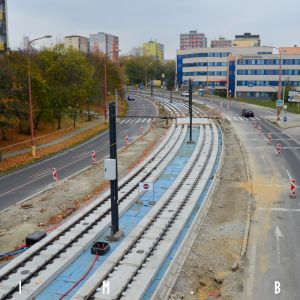 Začiatok modernizovaného úseku pri zastávke Segnerova