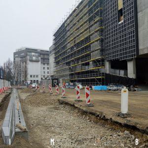 Vznikajúca autobusová zastávka na Páričkovej ulici