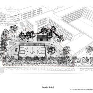 Nový školský areál na Vazovovej - axonometria. Zdroj: 2021