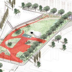Červené plochy sú v súčasnosti asfaltové, po revitalizácii sa premenia predovšetkým na zeleň. Zdroj: Dobré m(i)esto
