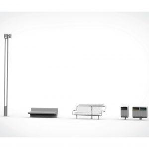 Mobiliár na námestí. Osvetlenie bude vychádzať z pôvodného, takisto ako lavičky alebo koše. Časť pôvodného mobiliáru sa zrepasuje. Zdroj: 2021+LABAK