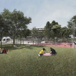 Detské ihrisko a prístupný trávnik. Zdroj: 2021 + LABAK