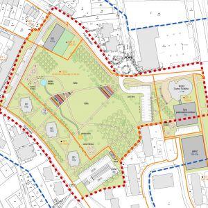 Komplexný urbanistický návrh, variant 1. Zdroj: Mestská časť Bratislava - Dúbravka
