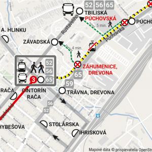 Organizácia verejnej dopravy v oblasti počas rekonštrukcie. Zdroj: Dopravný podnik Bratislava