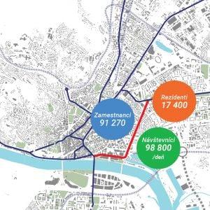 Odhadované nárasty návštevnosti lokality. Zdroj: J&T Real Estate