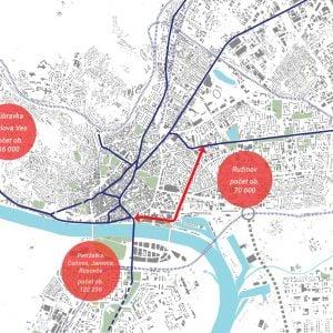 Trať má potenciál spojiť časti Bratislavy s výraznou koncentráciou obyvateľstva. Zdroj: J&T Real Estate
