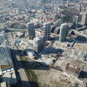 Bratislavský downtown z výšky, marec 2020
