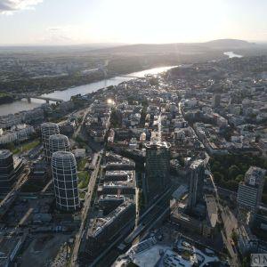 Bratislavský downtown z výšky, október 2020