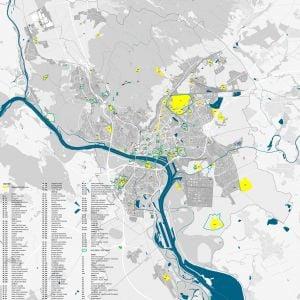 Mapa bratislavských brownfieldov. Zdroj: Bratislava - Hlavné mesto SR