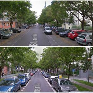 Zmena verejného priestoru na Blumentálskej. Zdroj: Google StreetView
